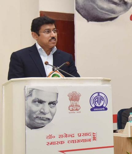 The Minister of State (I/C) , Col. Rajyavardhan Rathore addressing on Dr. Rajendra Prasad Memorial Lecture, organised by the All India Radio, in New Delhi on November 30, 2017