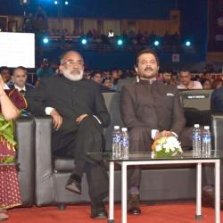 Hon'ble Governor of Goa Smt. Mridula Sinha, Sh. KJ Alphons, Sh. Anil Kapoor and Sh. Amit Khare (Secretary I&B) during the Closing ceremony.
