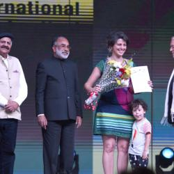 The Director of the movie 'Los Silencious', Ms. Beatriz Seigner being presented the Special Mention award, at the closing ceremony of the 49th International Film Festival of India (IFFI-2018), in Panaji, Goa on November 28, 2018. The Governor of Punjab & the Administrator of Chandigarh, Shri V.P. Singh Badnore and the Minister of State for Tourism (I/C), Shri Alphons Kannanthanam are also seen.
