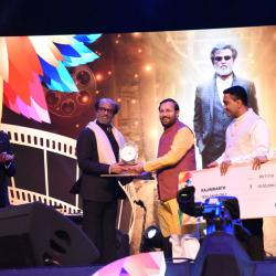 Veteran cinestar Shri Rajinikanth being awarded with �Icon of Golden Jubilee of IFFI� at the inauguration of 50th edition of International Film Festival of India (IFFI-2019) in Goa on November 20, 2019.