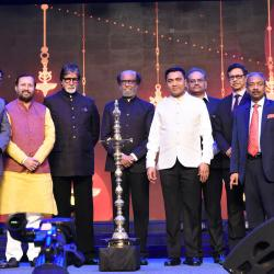 The Union Minister for Environment, Forest & Climate Change, Information & Broadcasting and Heavy Industries and Public Enterprise, Shri Prakash Javadekar along with the Chief Guests of IFFI, Superstar Amitabh Bachchan and Rajinikanth, the Chief Minister of Goa, Shri Pramod Sawant, the Minister of State for Environment, Forest and Climate Change, Shri Babul Supriyo, the Secretary, Ministry of Information & Broadcasting, Shri Amit Khare and other dignitaries at the inauguration of the 50th International Film