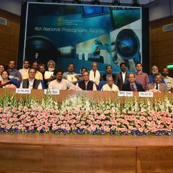 Secretary, I&B Shri Bimal Julka with 4th National Photography Awards winners